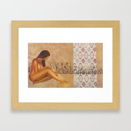 Girl in Field Framed Art Print