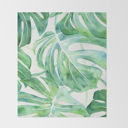 Monstera Leaf Pattern Throw Blanket