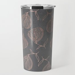 Modern floral hand drawn rose gold on grey cement graphite concrete Travel Mug