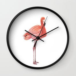 FLAMINGO IN THE SNOW Wall Clock