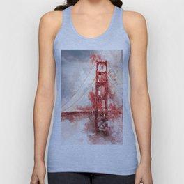 Watercolor Golden Gate Unisex Tank Top