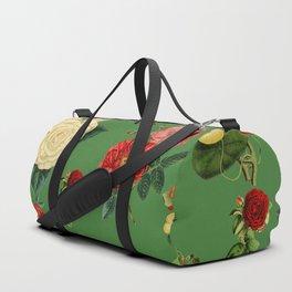 Green vintage roses Duffle Bag