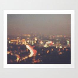 Los Angeles at night photo. Abstract Mulholland Art Print