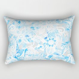 Floral Drawing in Cool Blue Watercolor and White Rectangular Pillow