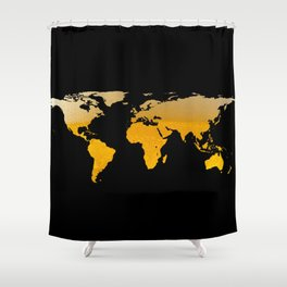World Map Silhouette - Beer Shower Curtain