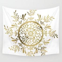 Leaf Mandala – Gold Palette Wall Tapestry