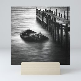 Old Abandoned Fishing Boat in The Sea,Black and White View Mini Art Print