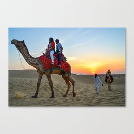 Camel Safari in Thar Desert, Sam, Jaisalmer, Rajasthan, India Canvas Print