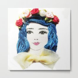Girl With the Blue Hair Metal Print