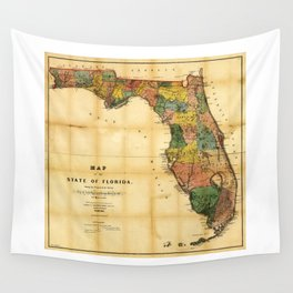 Map of the State of Florida (1856) Wall Tapestry