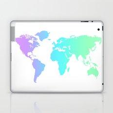 Ocean Gradient World Map Laptop & iPad Skin
