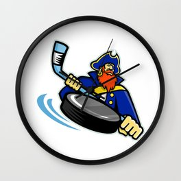 Swashbuckler Ice Hockey Sports Mascot Wall Clock