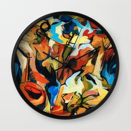 Abstract Musicians Painting Wall Clock