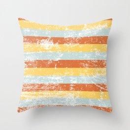 Warm Summer Distressed Stripey Pattern Design Throw Pillow