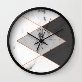 Geometric marble & copper Wall Clock