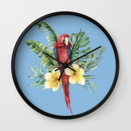 Tropical Red Parrot Wall Clock