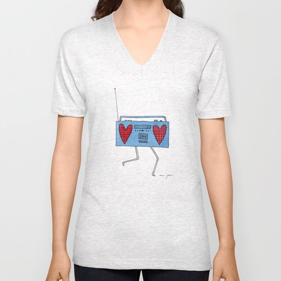 boombox with hearts Unisex V-Neck