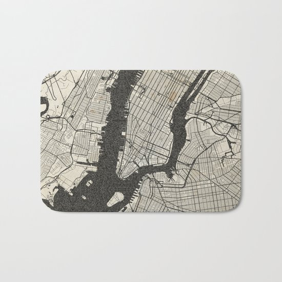 New York - Ink lines Bath Mat