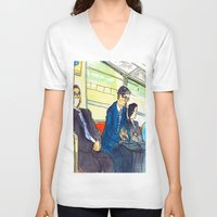 subway V-neck T-shirts featuring Tokyo subway by adi tsahor