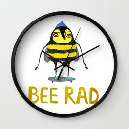 Bee. bee art, bee illustration, nature, illustration, wall, kids, skater, skateboarding, rad, Wall Clock