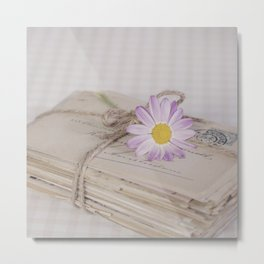 Shabby Chic Old Letters And Daisy Metal Print
