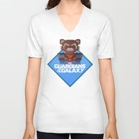 rocket raccoon V-neck T-shirts featuring Guardians of the Galaxy - Rocket Raccoon by Casa del Kables