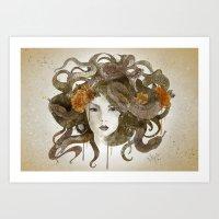 medusa Art Prints featuring Medusa by Marine Loup