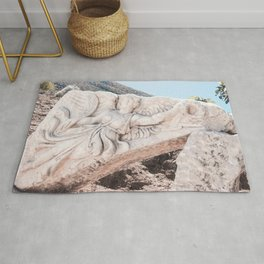 European City Ruins | Ephesus Carved Statue Rock Muted Baby Blue Tan Colors Historical Wanderlust Rug