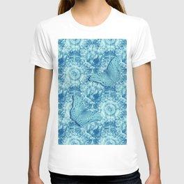 Butterflies on butterflies in blue T-shirt