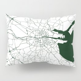 White on Dark Green Dublin Street Map Pillow Sham