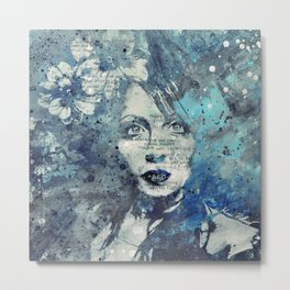 Farewell, Mona Lisa: Winter (graffiti flower girl) Metal Print