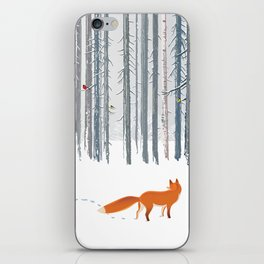 Fox in the white snow winter forest illustration iPhone Skin