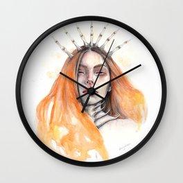 """""""Bones"""" Mixed Media Portrait Illustration Wall Clock"""