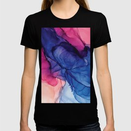 Pondering- Blue and Blush- Alcohol Ink Painting T-shirt