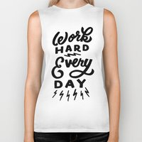 work hard Biker Tanks featuring Work Hard! by Dude, Be Awesome