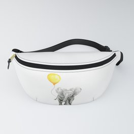 Elephant Watercolor Yellow Balloon Whimsical Baby Animals Fanny Pack