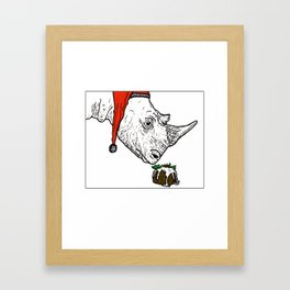 Christmas Rhino Framed Art Print