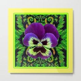 Yellow Color Purple PANSY Green Garden art Metal Print