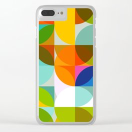 mid century geometry vibrant colors Clear iPhone Case