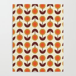 Retro 70s Wallpaper Flowers Poster