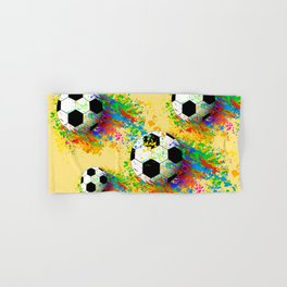 Football soccer sports colorful graphic design Hand & Bath Towel