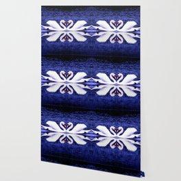 Swans in Love-dark blue Wallpaper