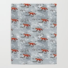 Little Mountain Foxes Grey Poster