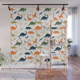 Dinos in Pastel Green and Orange Wall Mural