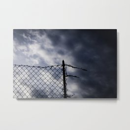 Fence broken hope blue Metal Print