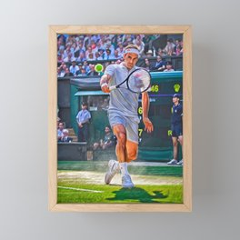 Roger Federer at Wimbledon 2019. Digital artwork print. Tennis fan art gift. Framed Mini Art Print