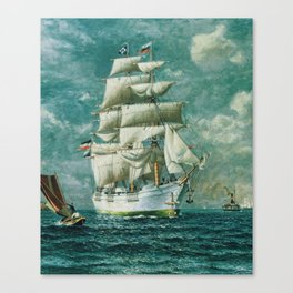 Vintage Large White Sailboat Painting (1895) Canvas Print