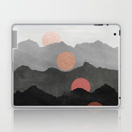Mountains and the Moon - Black - Silver - Copper - Gold - Rose Gold Laptop & iPad Skin
