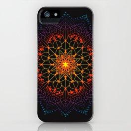 'Glowing Shamballa' Bohemian Mandala Black Blue Purple Orange Yellow iPhone Case