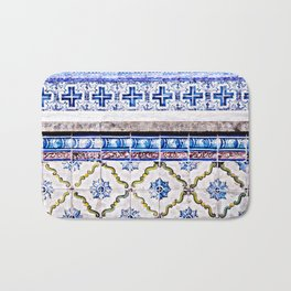 Blue and White LisbonTiles in the Alfama, Portugal Bath Mat